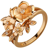 Золотое кольцо 585 пробы с фианитами