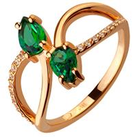 Золотое кольцо 585 пробы с топазами и фианитами