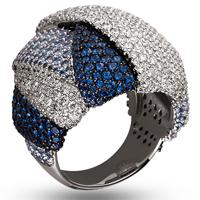 Золотое кольцо 585 пробы с бриллиантами и сапфирами