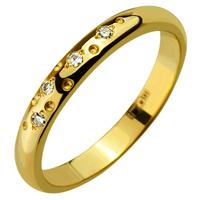 Золотое обручальное кольцо 585 пробы с бриллиантами