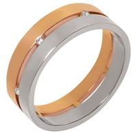 Золотое обручальное кольцо 585 пробы с фианитами
