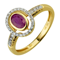 Золотое кольцо 585 пробы с бриллиантами и корундом