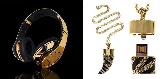 Золотые наушники от Crystal Rock и флешка от Cavalli
